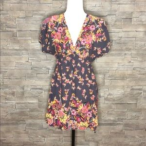 Angie grey floral tunic top